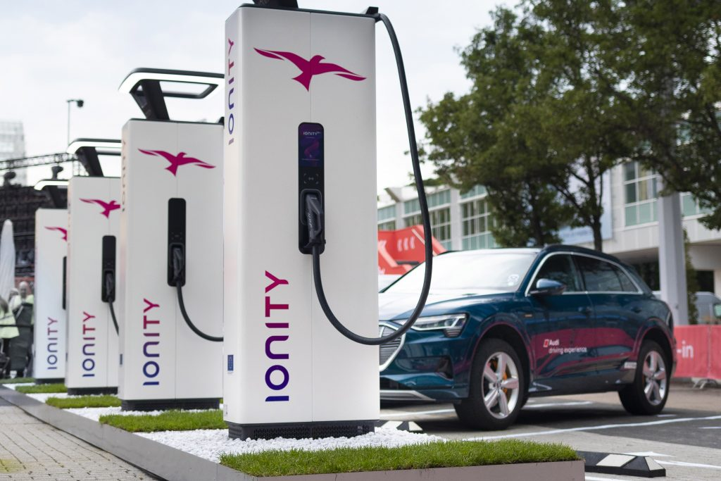 Photo from Germany of Ionity HPC.  'tap & pay' Ionity chargers are in Gorey, Cashel and Athlone, with more on way. Allowing space for subsidised ESB chargers in other places